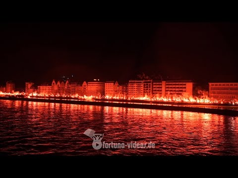 120 Jahre Fortuna Düsseldorf - Pyroshow auf der Rheinpromenade