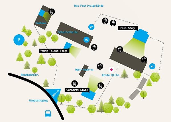 Das Gelände des Open-Source-Festivals auf der Rennbahn Grafenberg