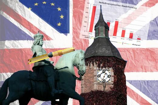 Fotocollage Jan Wellem, Rathaus, Brexit / Collage Jo Achim Geschke