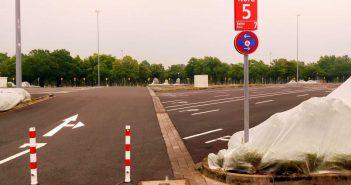 Ort des möglichen Geschehens: Feld Nord 5 des Messeparkplatzes P1